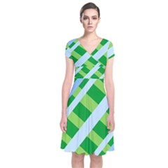 Fabric Cotton Geometric Diagonal Short Sleeve Front Wrap Dress