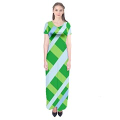 Fabric Cotton Geometric Diagonal Short Sleeve Maxi Dress