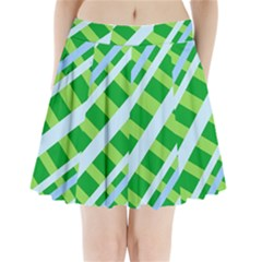Fabric Cotton Geometric Diagonal Pleated Mini Skirt