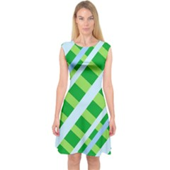 Fabric Cotton Geometric Diagonal Capsleeve Midi Dress
