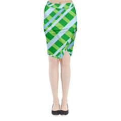 Fabric Cotton Geometric Diagonal Midi Wrap Pencil Skirt