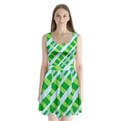 Fabric Cotton Geometric Diagonal Split Back Mini Dress