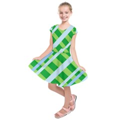 Fabric Cotton Geometric Diagonal Kids  Short Sleeve Dress