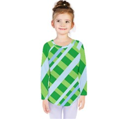 Fabric Cotton Geometric Diagonal Kids  Long Sleeve Tee