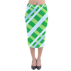 Fabric Cotton Geometric Diagonal Velvet Midi Pencil Skirt