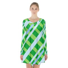 Fabric Cotton Geometric Diagonal Long Sleeve Velvet V Neck Dress