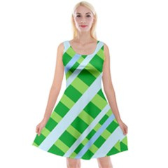 Fabric Cotton Geometric Diagonal Reversible Velvet Sleeveless Dress