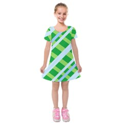 Fabric Cotton Geometric Diagonal Kids  Short Sleeve Velvet Dress