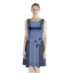 Fibonacci Sleeveless Chiffon Waist Tie Dress