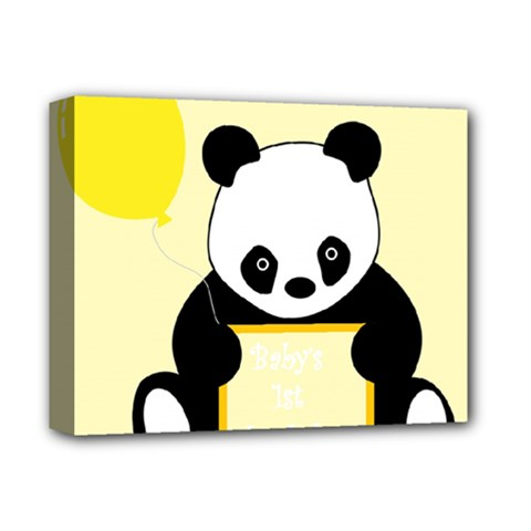 First Birthday Panda Card Deluxe Canvas 14  x 11