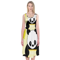 First Birthday Panda Card Midi Sleeveless Dress