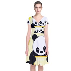First Birthday Panda Card Short Sleeve Front Wrap Dress