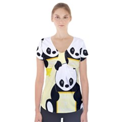 First Birthday Panda Card Short Sleeve Front Detail Top