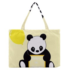 First Birthday Panda Card Medium Zipper Tote Bag