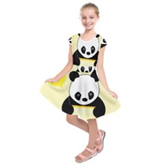 First Birthday Panda Card Kids  Short Sleeve Dress