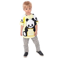 First Birthday Panda Card Kids  Raglan Tee