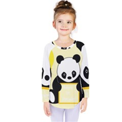 First Birthday Panda Card Kids  Long Sleeve Tee