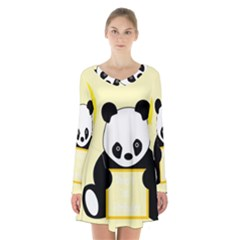 First Birthday Panda Card Long Sleeve Velvet V Neck Dress