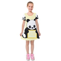 First Birthday Panda Card Kids  Short Sleeve Velvet Dress