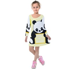 First Birthday Panda Card Kids  Long Sleeve Velvet Dress