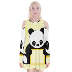 First Birthday Panda Card Velvet Long Sleeve Shoulder Cutout Dress