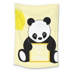 First Birthday Panda Card Large Tapestry