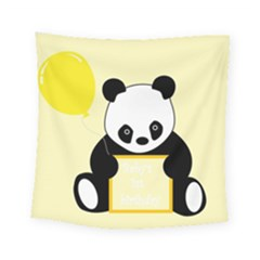 First Birthday Panda Card Square Tapestry (small)