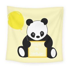 First Birthday Panda Card Square Tapestry (large)