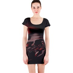 Fractal Mathematics Abstract Short Sleeve Bodycon Dress