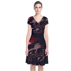 Fractal Mathematics Abstract Short Sleeve Front Wrap Dress