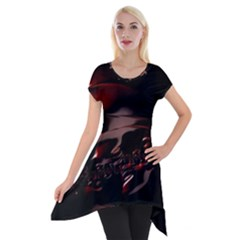 Fractal Mathematics Abstract Short Sleeve Side Drop Tunic