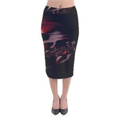 Fractal Mathematics Abstract Velvet Midi Pencil Skirt