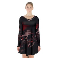 Fractal Mathematics Abstract Long Sleeve Velvet V Neck Dress