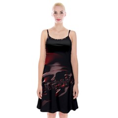 Fractal Mathematics Abstract Spaghetti Strap Velvet Dress