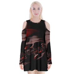 Fractal Mathematics Abstract Velvet Long Sleeve Shoulder Cutout Dress
