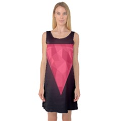 Geometric Triangle Pink Sleeveless Satin Nightdress