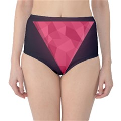 Geometric Triangle Pink High-Waist Bikini Bottoms