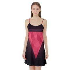 Geometric Triangle Pink Satin Night Slip