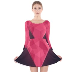 Geometric Triangle Pink Long Sleeve Velvet Skater Dress