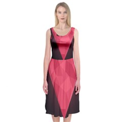 Geometric Triangle Pink Midi Sleeveless Dress