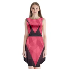 Geometric Triangle Pink Sleeveless Chiffon Dress