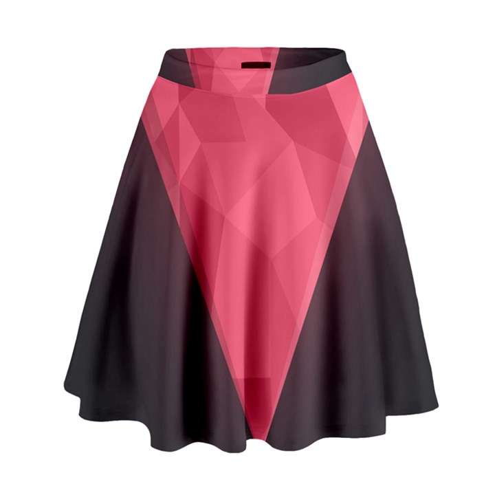 Geometric Triangle Pink High Waist Skirt