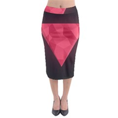 Geometric Triangle Pink Midi Pencil Skirt