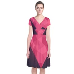 Geometric Triangle Pink Short Sleeve Front Wrap Dress