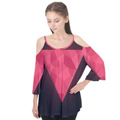 Geometric Triangle Pink Flutter Tees