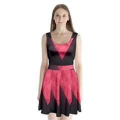 Geometric Triangle Pink Split Back Mini Dress