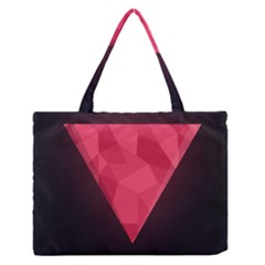Geometric Triangle Pink Medium Zipper Tote Bag