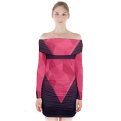 Geometric Triangle Pink Long Sleeve Off Shoulder Dress