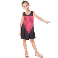 Geometric Triangle Pink Kids  Sleeveless Dress