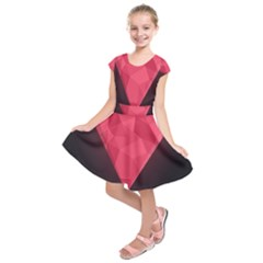 Geometric Triangle Pink Kids  Short Sleeve Dress